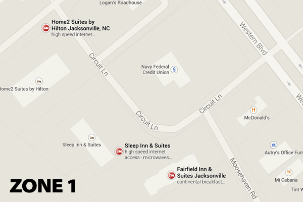 Zone 1 Hotel Map