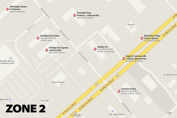 Zone 2 Hotel Map